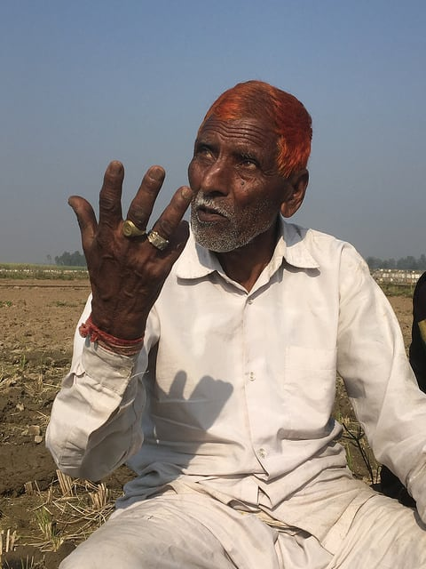 This Indian farmer barters sugar cane stalks with his neighbors to be used for cattle fodder. He likes the vines climbing in his cane field—the flowers attract birds and insects.