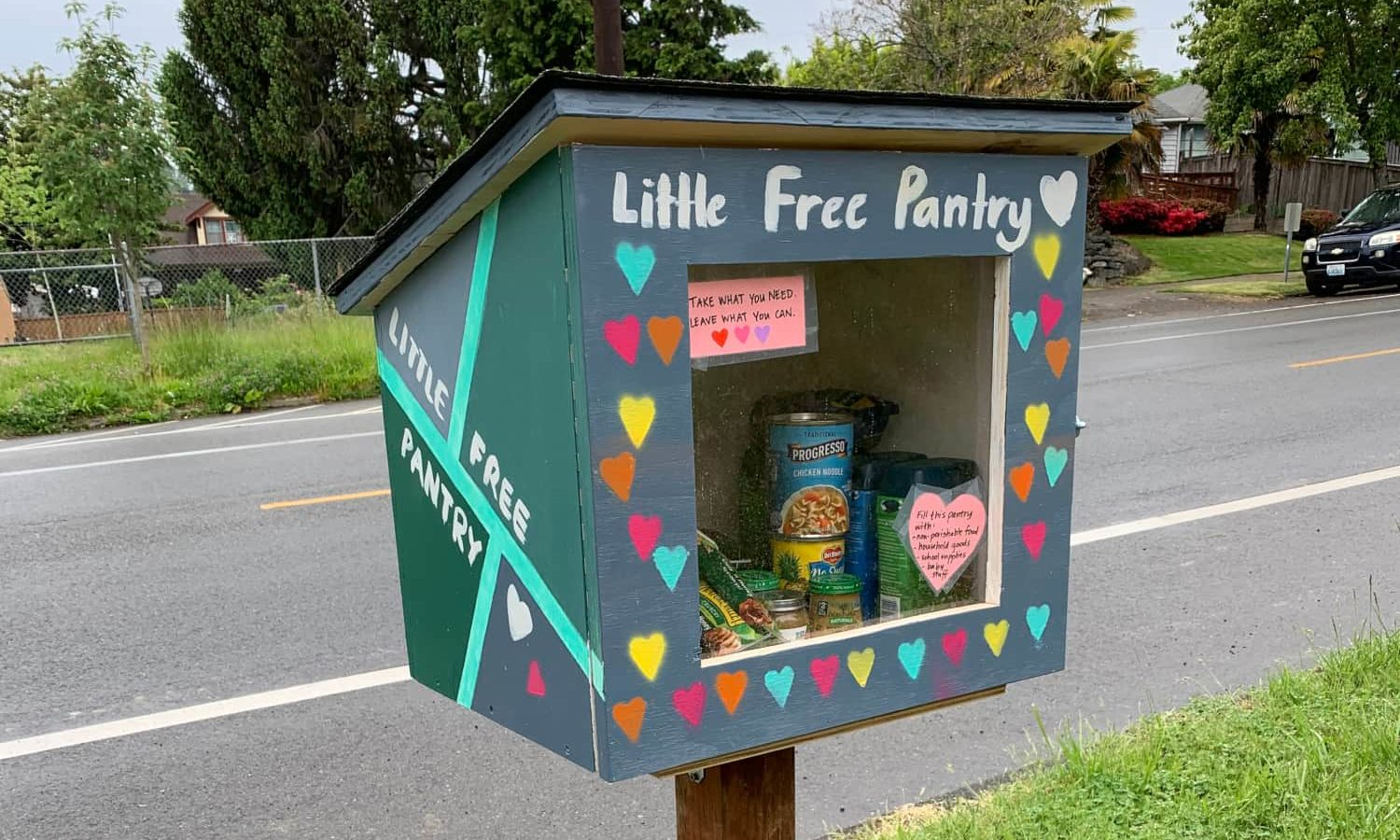 Communities are filling Little Free Libraries with pantry goods to help keep neighbors from going hungry during the COVID-19 pandemic.