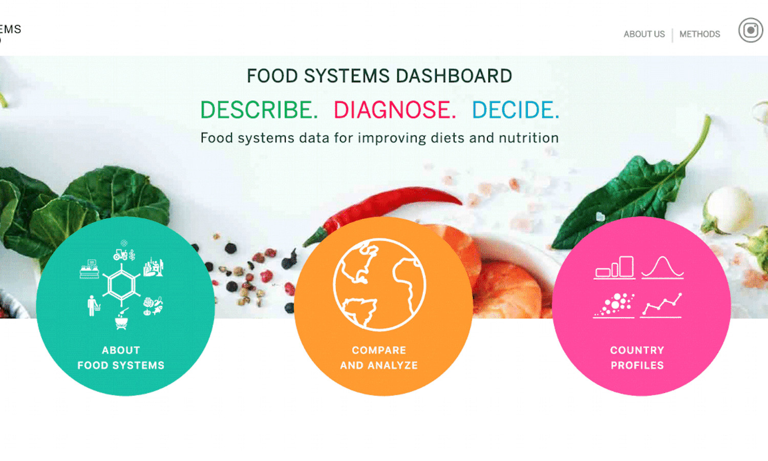 Johns Hopkins Alliance for a Healthier World, GAIN, and FAO, created the Food Systems Dashboard to bring together necessary data to paint a full picture of more than 230 countries' food systems.